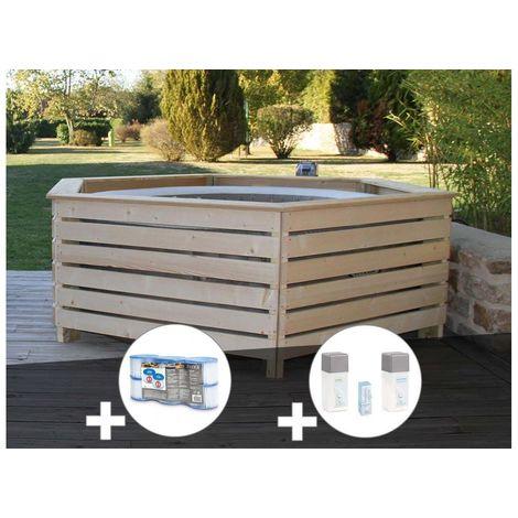 Pack spa gonflable Intex PureSpa Sahara rond Bulles 4 places + Habillage en bois AquaZendo + 6 filtres + Kit traitement brome