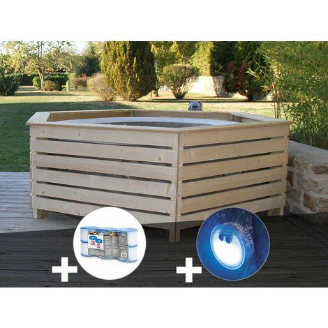 Pack spa gonflable Intex PureSpa Sahara rond Bulles 4 places + Habillage en bois AquaZendo + 6 filtres + Projecteur LED