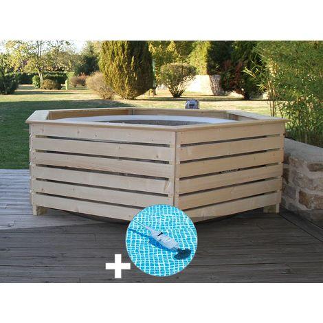 Pack spa gonflable Intex PureSpa Sahara rond Bulles 4 places + Habillage en bois AquaZendo + Aspirateur
