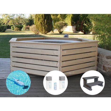 Pack spa gonflable Intex PureSpa Sahara rond Bulles 4 places + Habillage en bois AquaZendo + Aspirateur + Kit traitement brome + Escalier