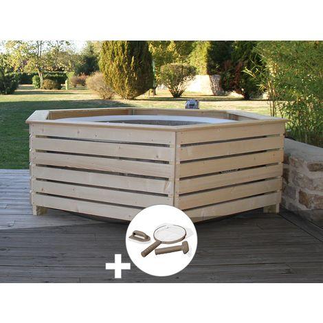 Pack spa gonflable Intex PureSpa Sahara rond Bulles 4 places + Habillage en bois AquaZendo + Kit d'entretien