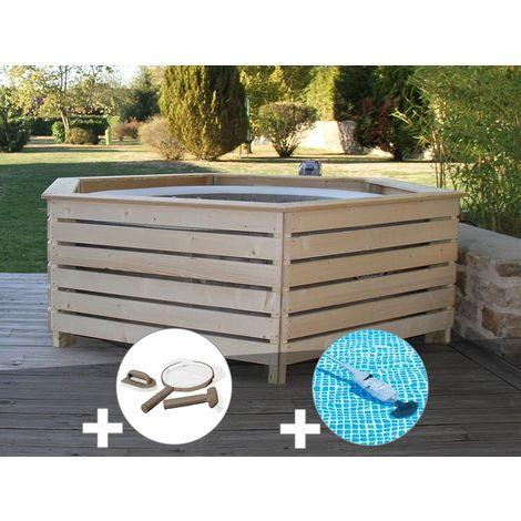 Pack spa gonflable Intex PureSpa Sahara rond Bulles 4 places + Habillage en bois AquaZendo + Kit d'entretien + Aspirateur