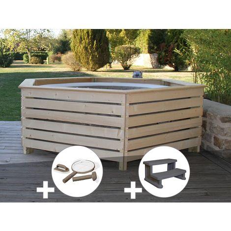 Pack spa gonflable Intex PureSpa Sahara rond Bulles 4 places + Habillage en bois AquaZendo + Kit d'entretien + Escalier