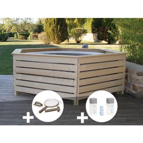 Pack spa gonflable Intex PureSpa Sahara rond Bulles 4 places + Habillage en bois AquaZendo + Kit d'entretien + Kit traitement brome