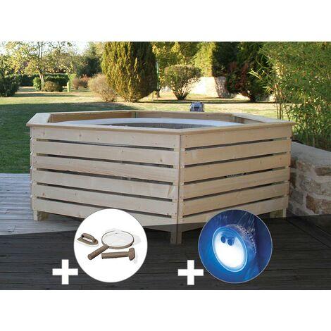 Pack spa gonflable Intex PureSpa Sahara rond Bulles 4 places + Habillage en bois AquaZendo + Kit d'entretien + Projecteur LED