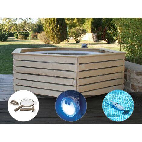 Pack spa gonflable Intex PureSpa Sahara rond Bulles 4 places + Habillage en bois AquaZendo + Kit d'entretien + Projecteur LED + Aspirateur