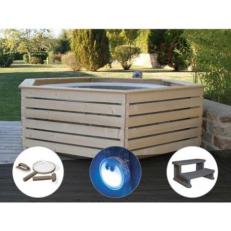 Pack spa gonflable Intex PureSpa Sahara rond Bulles 4 places + Habillage en bois AquaZendo + Kit d'entretien + Projecteur LED + Escalier