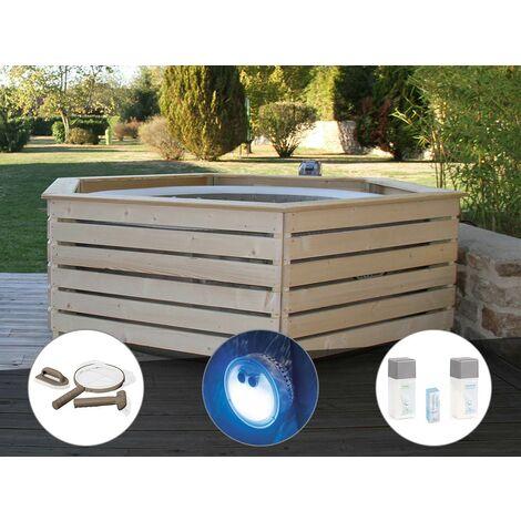 Pack spa gonflable Intex PureSpa Sahara rond Bulles 4 places + Habillage en bois AquaZendo + Kit d'entretien + Projecteur LED + Kit traitement brome
