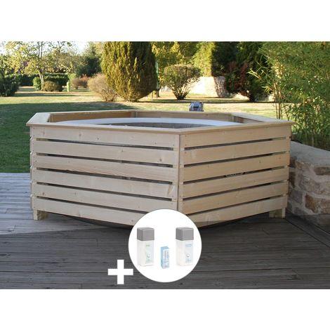Pack spa gonflable Intex PureSpa Sahara rond Bulles 4 places + Habillage en bois AquaZendo + Kit traitement brome
