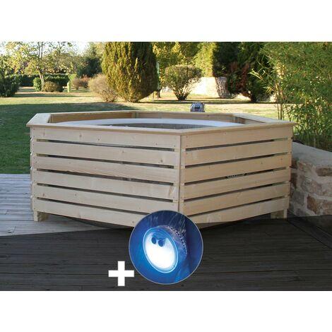 Pack spa gonflable Intex PureSpa Sahara rond Bulles 4 places + Habillage en bois AquaZendo + Projecteur LED