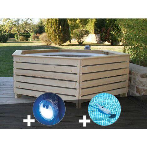 Pack spa gonflable Intex PureSpa Sahara rond Bulles 4 places + Habillage en bois AquaZendo + Projecteur LED + Aspirateur