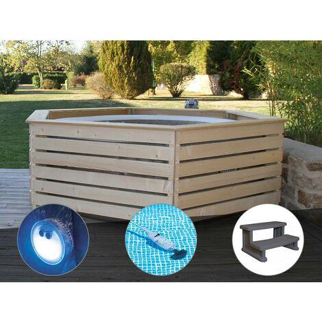 Pack spa gonflable Intex PureSpa Sahara rond Bulles 4 places + Habillage en bois AquaZendo + Projecteur LED + Aspirateur + Escalier
