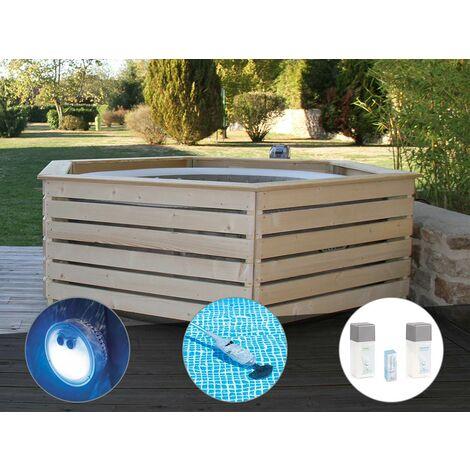 Pack spa gonflable Intex PureSpa Sahara rond Bulles 4 places + Habillage en bois AquaZendo + Projecteur LED + Aspirateur + Kit traitement brome