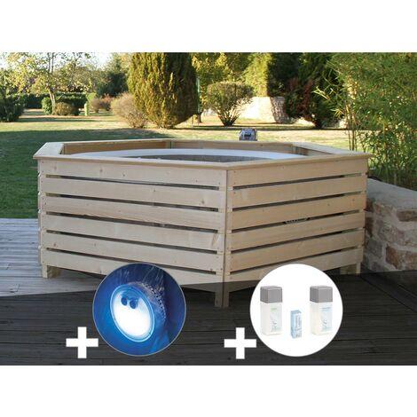 Pack spa gonflable Intex PureSpa Sahara rond Bulles 4 places + Habillage en bois AquaZendo + Projecteur LED + Kit traitement brome