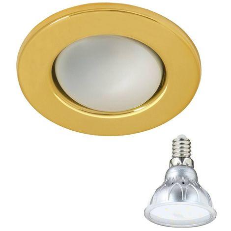 Pack Spot encastrable  Or Rond E14 IP20 4,2W Blanc Chaud ampoule fournie XANLITE