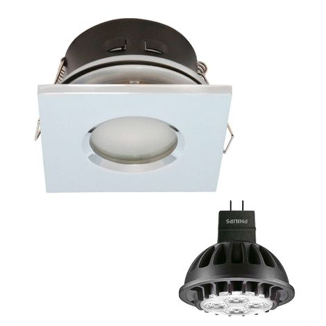 Pack Spot encastrable salle de bain Chrome Carré GU5.3 MR16 IP44 7W Blanc Chaud ampoule fournie PHILIPS