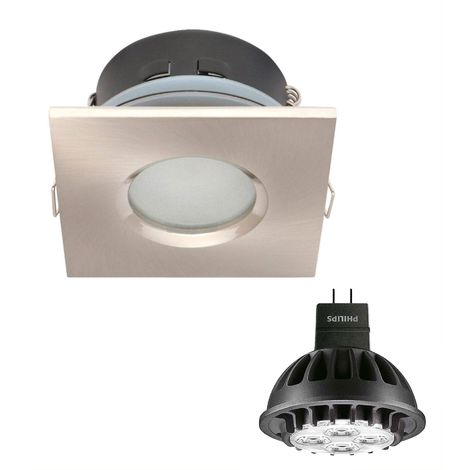 Pack Spot encastrable salle de bain  Nickel satiné Carré GU5.3 MR16 IP65 7W Blanc Chaud ampoule fournie PHILIPS