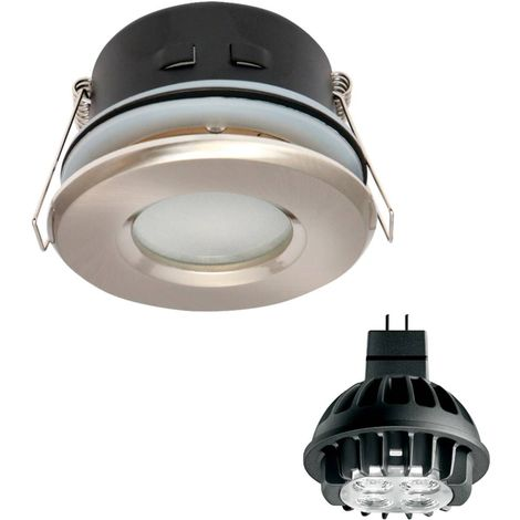 Pack Spot encastrable salle de bain Nickel satiné Rond GU5.3 MR16 IP44 7W Blanc Chaud ampoule fournie PHILIPS