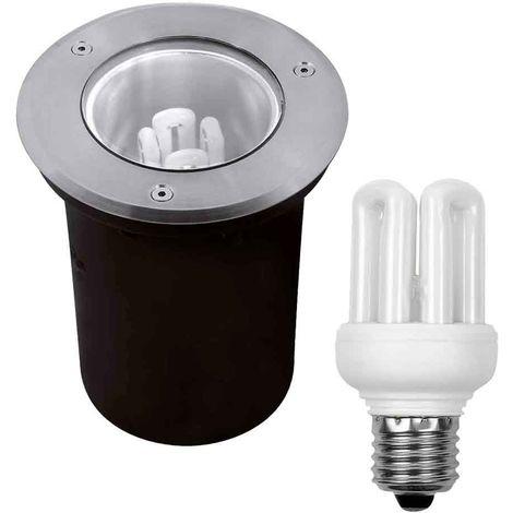 Pack Spot IP67 et Ampoule Fluocompacte E27 11W 500LM Blanc Chaud Kanlux