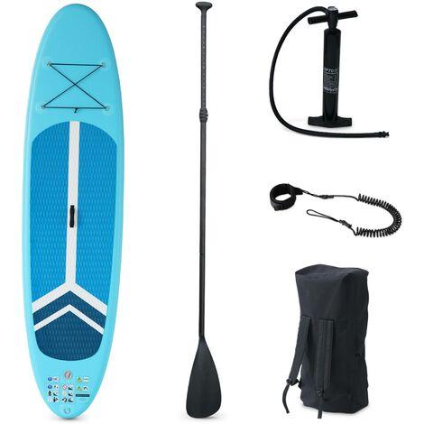 Pack stand up paddle gonflable Julio 9'3'' avec pompe haute pression simple action pagaie leash et sac de rangement inclus