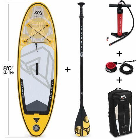"""Pack stand up paddle gonflable Vibrant 8'0"""" avec pompe haute pression, pagaie, leash et sac de rangement inclus, SUP"""