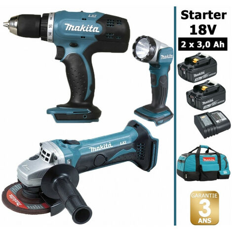 Pack Starter 18V: Perceuse 42Nm DDF453 + Meuleuse 115mm DGA452 + Lampe torche DEADML802 + 2 batteries 3Ah + sac MAKITA