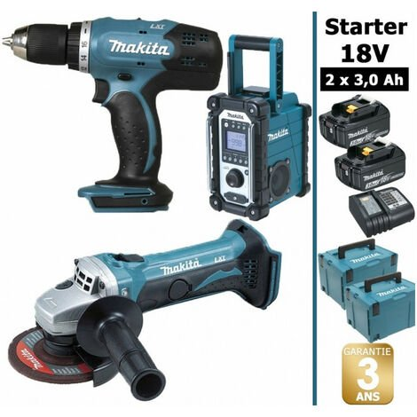 Pack Starter Makita 18V: Perceuse 42Nm DDF453 + Meuleuse 115mm DGA452 + Radio DMR108 + 2 batteries 3Ah + 2 Coffrets Makpac
