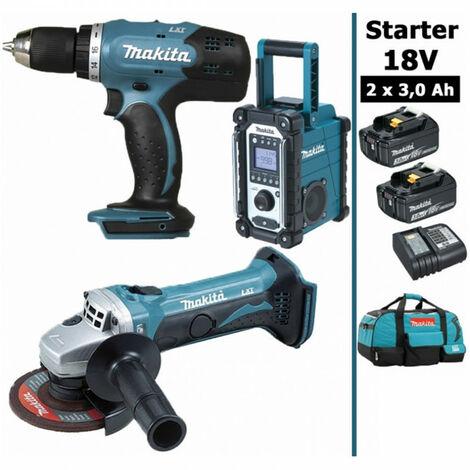 Pack Starter Makita 18V: Perceuse 42Nm DDF453 + Meuleuse 115mm DGA452 + Radio DMR108 + 2 batteries 3Ah + sac