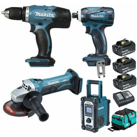 Pack Starter Makita 18V: Perceuse 42Nm DDF453 + Meuleuse 115mm DGA452 + Visseuse à choc 160Nm DTD146 + Radio de chantier DMR107 + 3 batteries 3Ah + sac
