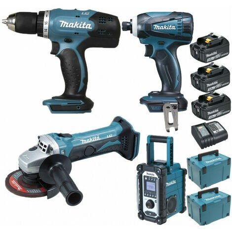 Pack Starter Makita 18V: Perceuse 42Nm DDF453 + Meuleuse 115mm DGA452 + Visseuse à choc 160Nm DTD146 + Radio de chantier DMR108 + 3 batteries 3Ah + Coffrets Makpac