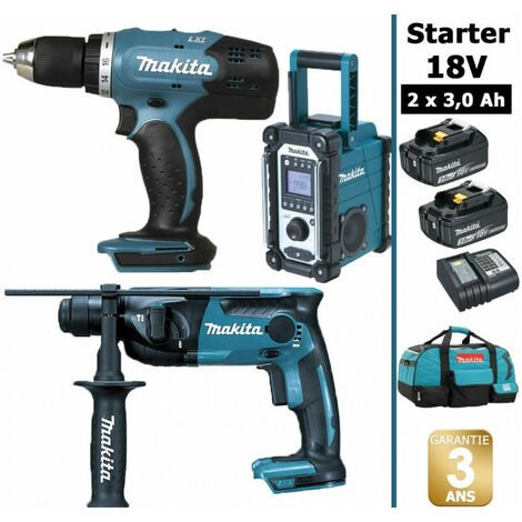 Pack Starter Makita 18V: Perceuse 42Nm DDF453 + Perforateur 1,3J DHR165 + Radio DMR108 + 2 batteries 3Ah + sac