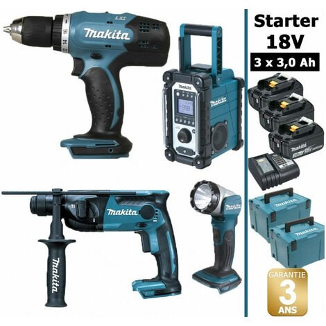 Pack Starter Makita 18V: Perceuse 42Nm DDF453 + Perforateur 1,3J DHR165 + Radio DMR108 + Lampe torche DEADML802 + 3 batteries 3Ah + 2 coffrets MAKPAC