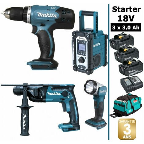 Pack Starter Makita 18V: Perceuse 42Nm DDF453 + Perforateur 1,3J DHR165 + Radio DMR108 + Lampe torche DEADML802 + 3 batteries 3Ah + sac