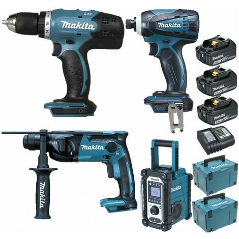 Pack Starter Makita 18V: Perceuse 42Nm DDF453 + Perforateur 1,3J DHR165 + Visseuse à choc 160Nm DTD146 + Radio de chantier DMR108 + 3 batteries 3Ah + coffrets Makpac