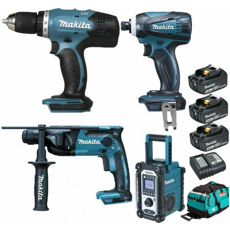 Pack Starter Makita 18V: Perceuse 42Nm DDF453 + Perforateur 1,3J DHR165 + Visseuse à choc 160Nm DTD146 + Radio de chantier DMR108 + 3 batteries 3Ah + sac MAKITA