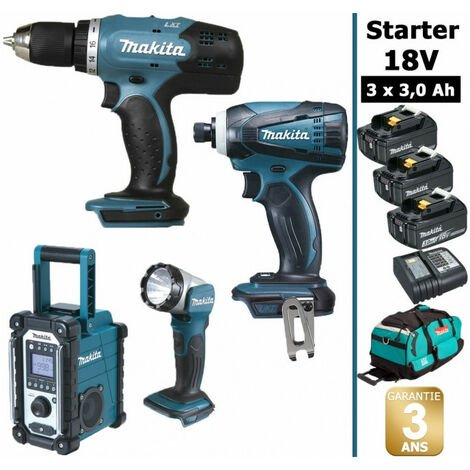 Pack Starter Makita 18V: Perceuse 42Nm DDF453 + Visseuse à choc 160Nm DTD146 + Radio DMR108 + Lampe torche DEADML802 + 3 batteries 3Ah + sac