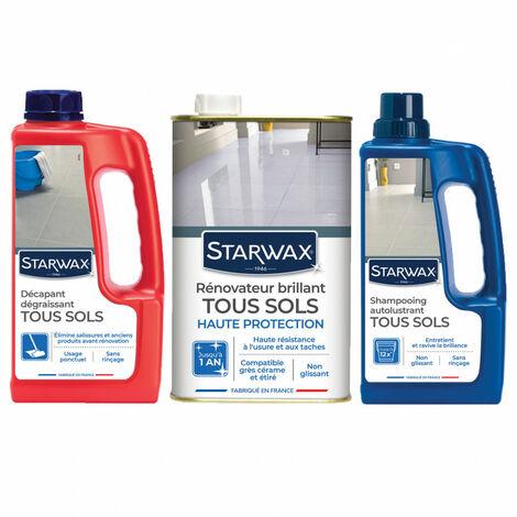 Pack Starwax entretien des sols intérieurs: décapant + rénovateur + shampoing