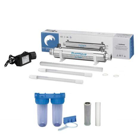Pack stérilisateur 16w + 1 lampe de rechange + filtration d'eau double porte filtre + filtres