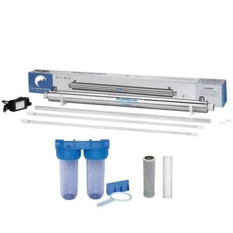 Pack stérilisateur 40w + 1 lampe de rechange + filtration d\'eau double porte filtre + filtres