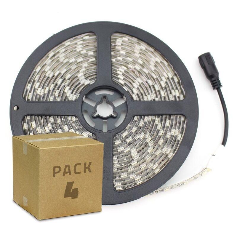 PACK Striscia LED 12V DC SMD5050 60LED/m 5m IP65 (4 Un) Bianco Freddo 6000K - 6500K - LEDKIA