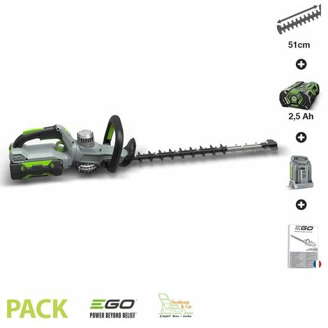 Pack taille-haies arbustes batterie et chargeur inclus lamier 51cm EGO HT5100E - Gris