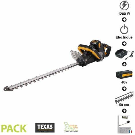 Pack taille haies sans fil coupe 58cm batterie 40V chargeur rapide poignée rotative Texas HTX4000