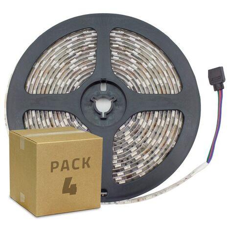 Pack Tira LED 12V DC SMD5050 60LED/m 5m RGB IP65 (4 Un) RGB