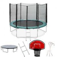 Pack Trampoline 245cm FlyJump + Panier de Basket + Filet + Echelle + Bache + Range Chaussure