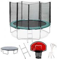 Pack Trampoline 305cm FlyJump + Panier de Basket + Filet + Echelle + Bache + Range Chaussure