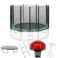 Pack Trampoline 370cm FlyJump + Panier de Basket + Filet + Echelle + Bache + Range Chaussure