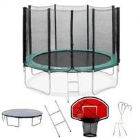 Pack Trampoline 430cm FlyJump + Panier de Basket + Filet + Echelle + Bache + Range Chaussure