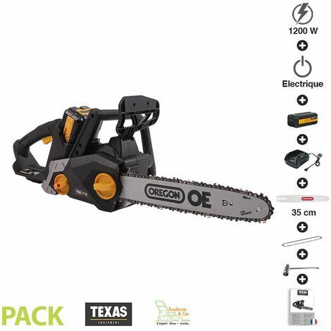 Pack tronçonneuse sans fil à batterie 1200W guide 35 cm Texas CSX4000 avec chargeur et batterie
