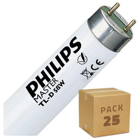 Pack Tube Fluorescent Dimmable T8 1500mm Connexion des 2 Côtés 58W (25 Un) Blanc Froid 6500K - Blanc Froid 6500K