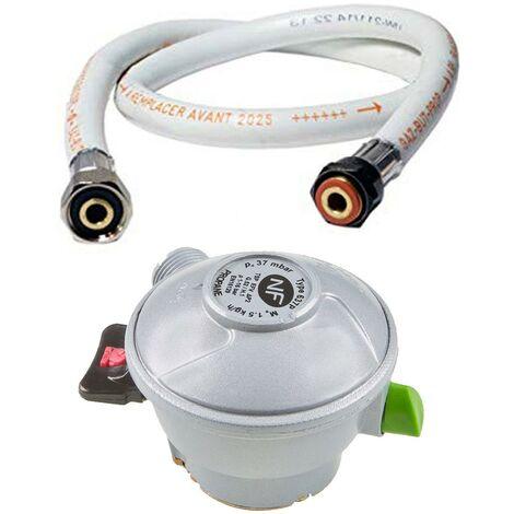 Pack tuyau gaz 1.50 m + Détendeur Propane Quick-On Valve Diam 27mm BUTAGAZ
